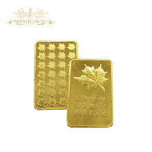 1 Troy OZ 100 Mills Gold Bullion Bar Fine Gold Plated Maple Leaf Ingot Gold Bar For Home Decor