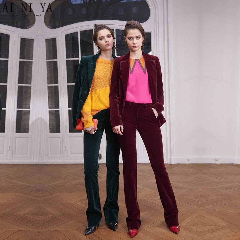 3-25 119 New Formal Suits for Women Office Business Suitspants Work Wear Sets Uniform Styles Velvet Elegant Pant Suits Green & Wine Red