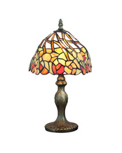 DHL Free Table Lamps Small Tiffany Style Stained Glass Shade Desk Light Fixture Mediterranean Sea Style Bedroom E14 110V-240V(China)