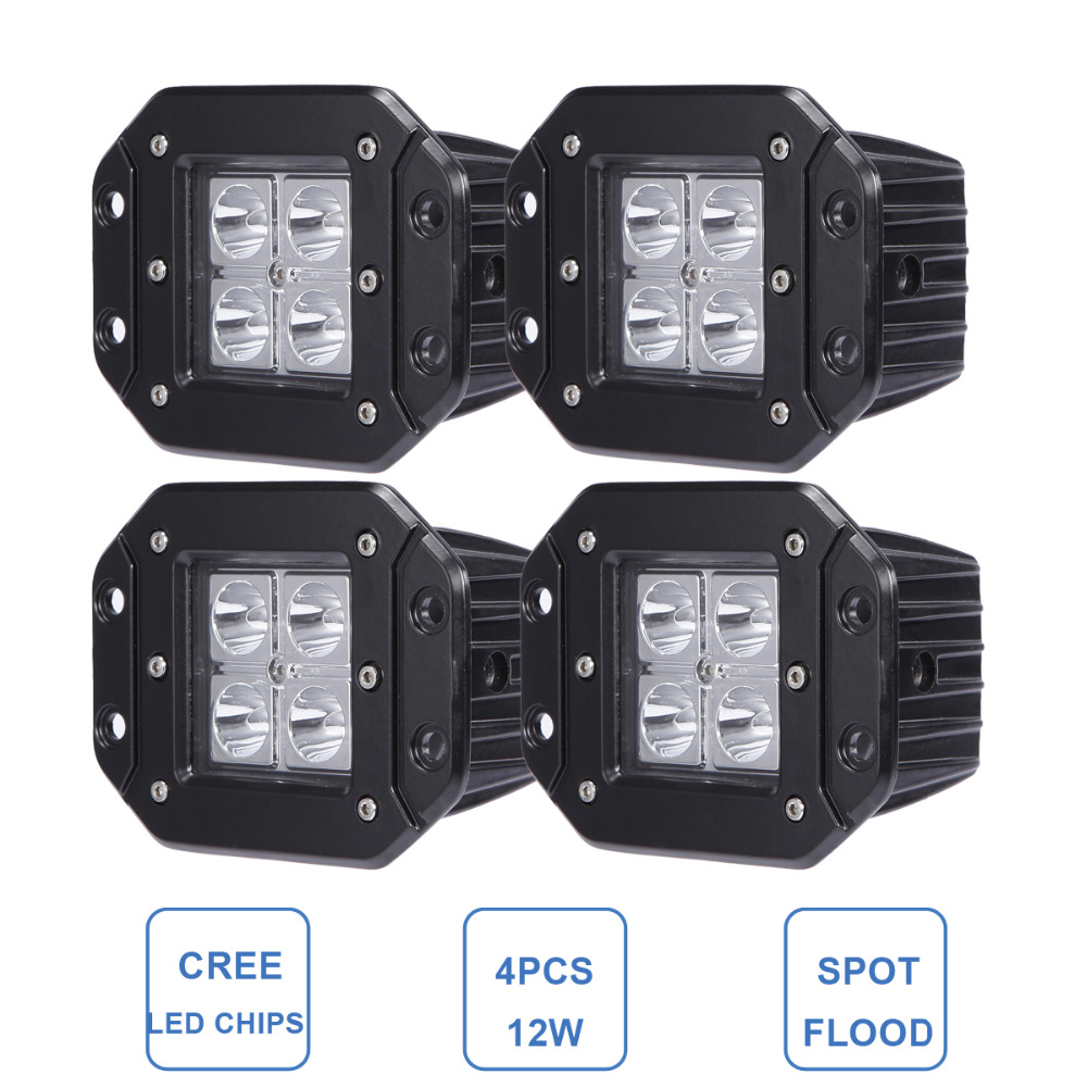 12W Offroad LED Work Light Flush Mount For Jeep Ford Bumper Rear Backup Car 4X4 Trailer Truck SUV ATV Pickup Wagon 12V 24V Lamp<br><br>Aliexpress