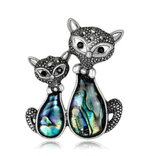 Vintage Charms Crystal Rhinestone Natural Shell Lover Cat Gecko Brooches for Women Dress Scarf Brooch Pins Jewelry Gift(China)