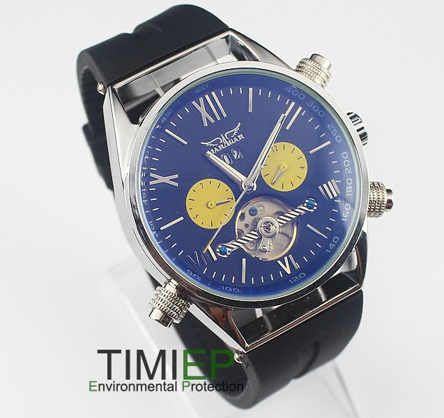 Man Luxury Elegant Blue Dial Automatic Mechanical Rubber Mens Boys Causal Watch<br>