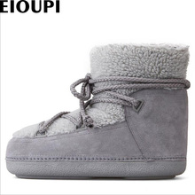 EIOUPI warm winter snow boots real nubuck suede leather women casual fashion thread sewing ankle flat boot OYM5406