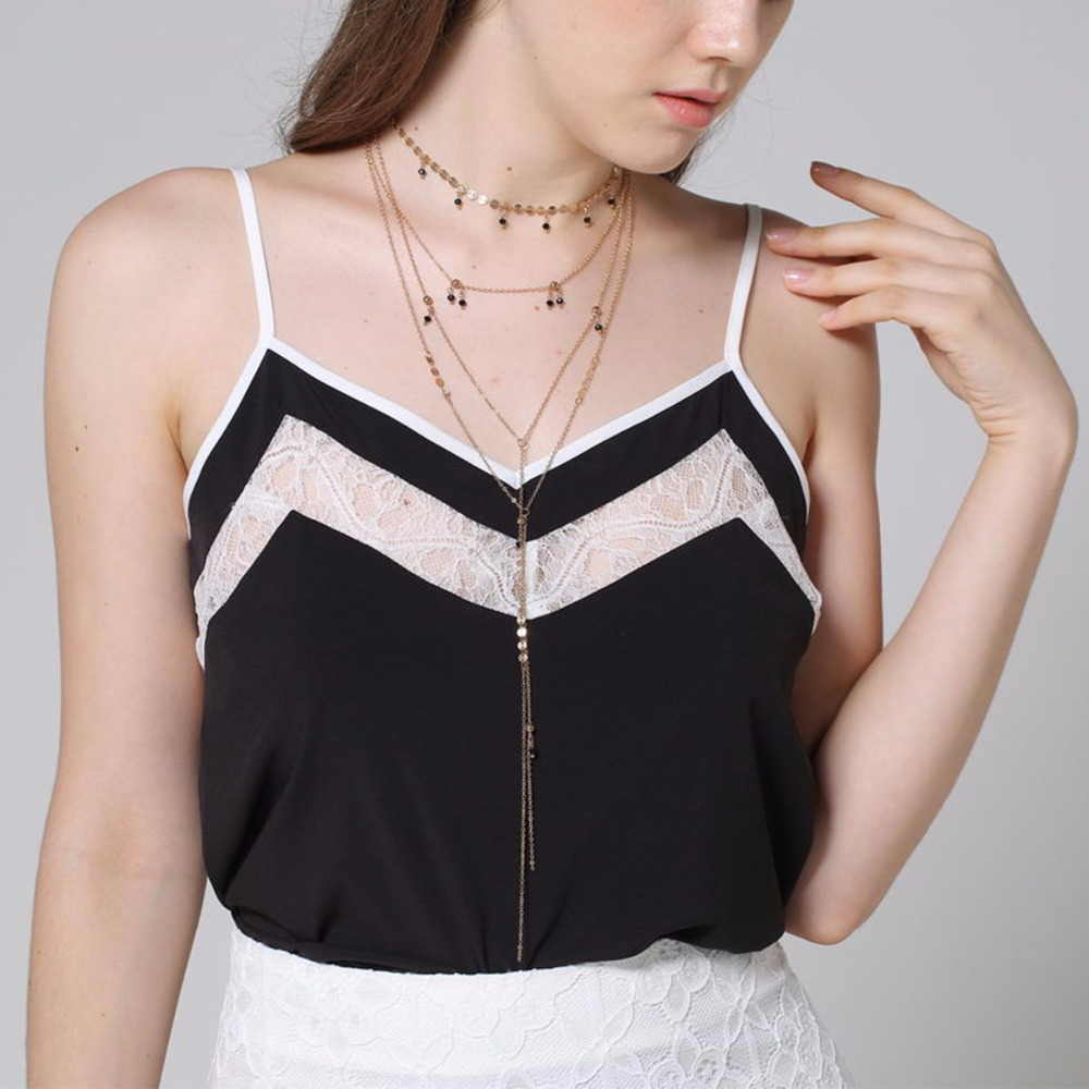 Multilayer Sequin Chain Small Crystal Choker Necklace*