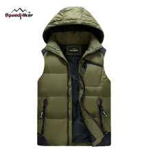Speed Hiker Men's Down Vest 2016 Winter Solid Color Waterproof  Male Warm Thick Sleeveless Coats Overcoat Size 4XL 5XL K8083