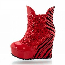 Sexy Zebra Cut-out Summer Boots New 2017 High Wedges Platform Boots Ankle Boots Laces Shining Sequined Wedges Fashion Shoes
