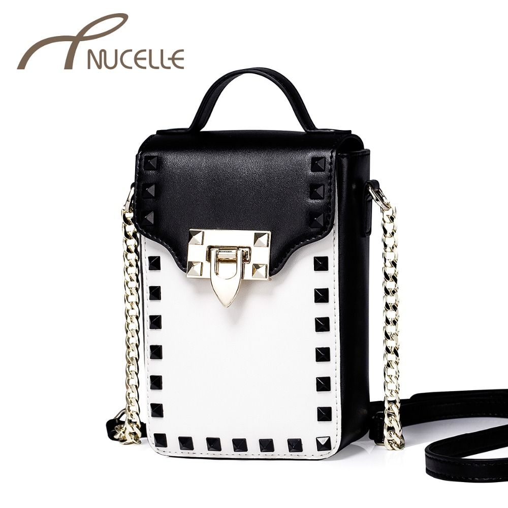 Nucelle Women Split Leather Shoulder Bags Ladies Fashion Patchwork Rivet Lock Chain Crossbody Bags Female Mini Tote Purse NZ5831<br>