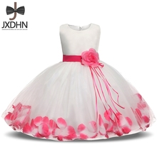 Kids Infant Girls Flower Petals Dress Children Bridesmaid Toddler Elegant Dress Pageant Wedding Bridal Tulle Formal Party Dress