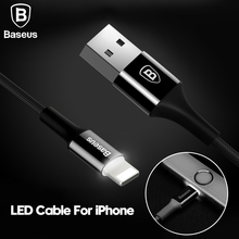 Baseus LED Charger Cable For iPhone 8 7 6 USB Data Cable For iPhone X iPad 2A Fast Charger Cable LED lighting Mobile Phone Cable(China)