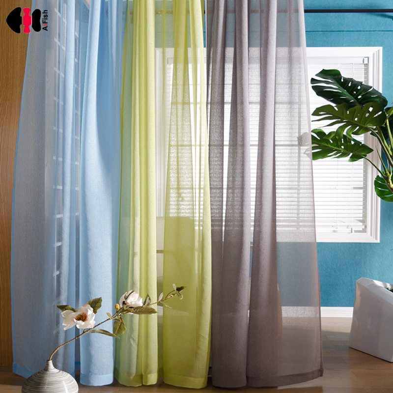 Pure Linen Tulle Curtains Kitchen Decorations Window Treatments Living Room Divider Sheer Solid Voile Blinds Single Panel WP276D