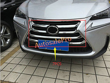 ABS Chrome Front Center Grill Grid Stripes Cover Trim For LEXUS NX200T NX300H 2015 2016