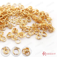 (30347)10g 3*0.5MM 4*0.7MM 5*0.8MM 6*0.9MM 8*1.2MM 10*1.2MM 24K Gold Color Real Gold Color Jump Rings Split Rings High Quality(China)