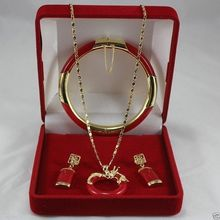 QW286 Beautiful Red Natural stone Circle Dragon Pendant Necklace Earring Bracelet Set AAA style 100% Noble Fine jewe