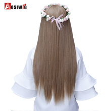 AOSIWIG 24'' Long Straight Hair Extensions 5 Clips in Fake Heat Resistant Synthetic Fake Hairpiece Hairstyle(China)