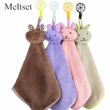 Kitchen Cartoon Animal  Hanging Hand Towel Cleaning Cloth Bathroom Hanging Towel for Kids