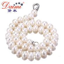 DAIMI Classic Best Buy 100% Natural Freshwater Pearl Necklace 10-11mm Big Size Pearl Good Quality Brand Jewelry Women Choker