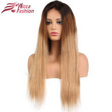 Full Lace Wigs Straight Peruvian Remy Hair Wig 150% Density Ombre Color T1B/4/27 with Baby Hair Dream Beauty(China)