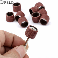 10Pcs Dremel Accessories 12.5mm Grit 80# Sanding Bands +3.17mm Sander Drum Mandrel Rotary Tool Nail Drill Bits Electrical Tools(China)