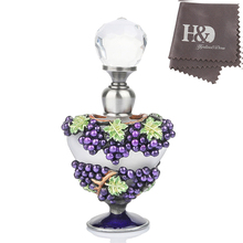 H&D 5ml Retro Purple Grape Vintage Heart Shape Empty Metal Clear Crystal Perfume Bottle Refillable Gift Colorful Lampwork