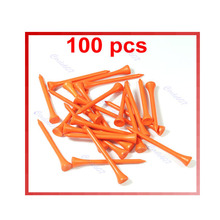 Golf supplies 100 X 70mm Golf Ball Wood Tee Tees Orange Brand New