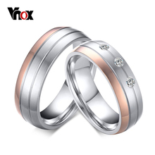 Vnox Trendy Wedding Ring Titanium Steel Female Male Promise Finger Anel High Quality