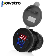 Powstro LED Car 2.1A USB Socket Charger Outlet with Voltmeter Modification Accessory for Motorcycle Motor Truck ATV Boat 12-24V(China)