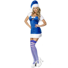 MOONIGHT Women Cosplay Christmas Apparel Female Santa Costume, Blue Christmas Dress Santa Claus Fancy Halloween Party Costume