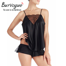 Burvogue Women Sexy Pajama Sets Deep V Camisole Satin Pajamas Shorts Set Sleepwear Pajamas New Spaghetti Strap Lace Pajamas(China)