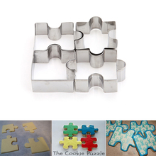 4Pcs/set Cookie Puzzle Shape Stainless Steel Cookie Cutter Set DIY Biscuit Mold Dessert Bakeware Cake Mold EJ876972