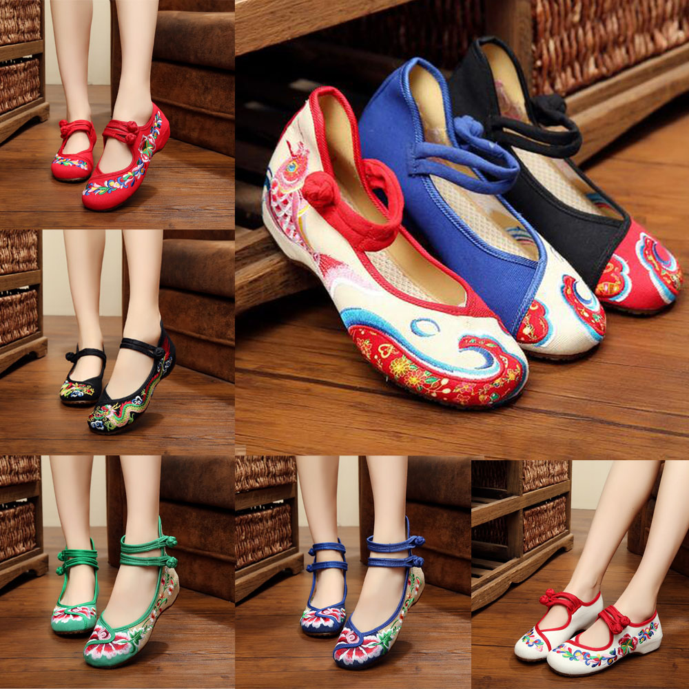 New Arrive Old Peking Cloth Embroidery Shoes Chinese Flats Mary Janes Casual Walking Dance Women Soft Shoes 29style plus size 41<br><br>Aliexpress