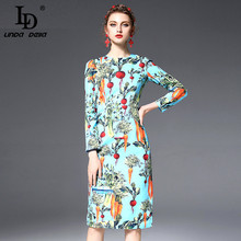 High Quality New 2017 Fashion Designer Runway Dress Women's Long Sleeve Vegetables Printed Casual Office Pencil Dress(China)