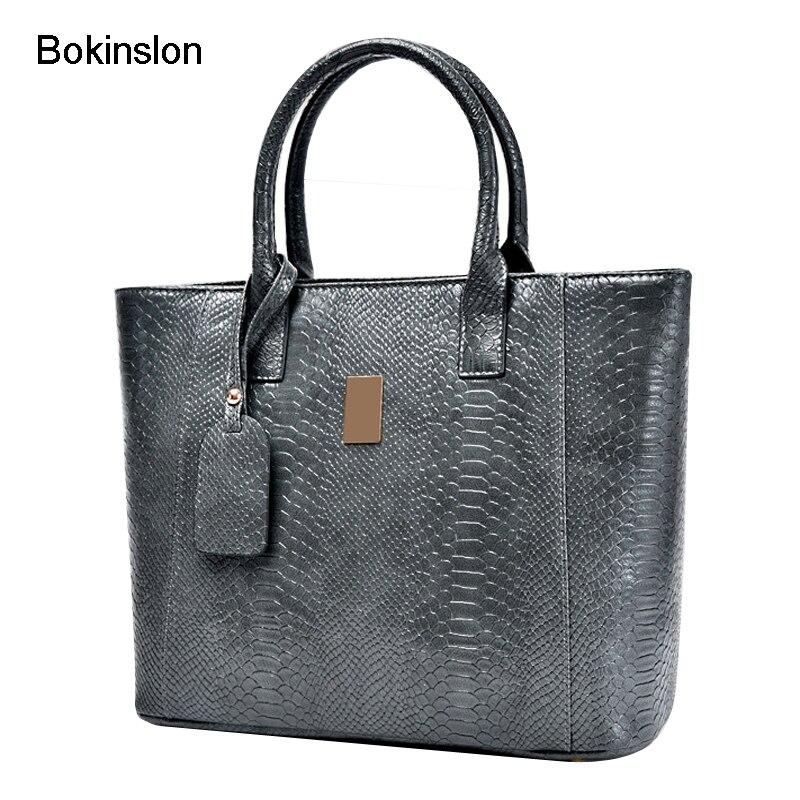 Bokinslon Fashion Women Handbags Cow Split Leather Large Alligator Grain Handbag Designer Girls Casual Crossbody Bags For Woman<br>