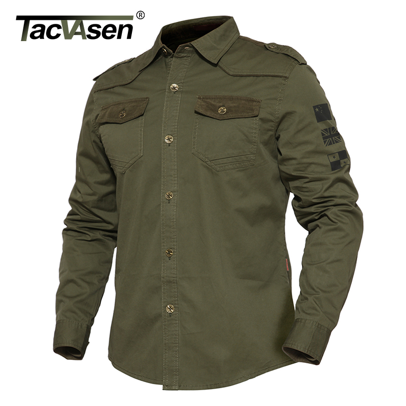 TACVASEN Spring Men Military Style Shirt Autumn Slim Long Sleeve Shirt Tactical Cotton Clothes Men Camouflage Shirt TD-BJZS-004