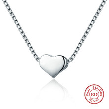 Minimalist Simple 925 Sterling Silver Heart Slide Pendant Necklace For Women Jewelry(China)