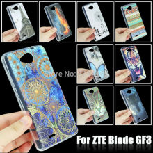 Fashion Colorful 10 Patterns Durable TPU Soft Case for ZTE Blade GF3 Skin Gel Silicone Back Cover Tiger Butterfly Painting