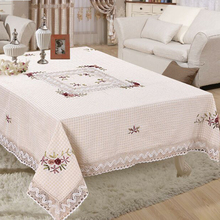 Embroiderd Tablecloth Lace edge Square Handmade Table Cloth For Wedding Party table cover decoration 150*220cm toalha de mesa