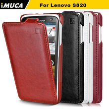 iMUCA For lenovo  s820 Cases covers PU Leather Cover for lenovo s820 cover case Flip Style luxury black Bags Durable phone cases