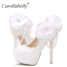 Lace pearl white flowers bridal shoes thin high heel platform shoes with pearl pendant round/pointed toe wedding shoes(China)