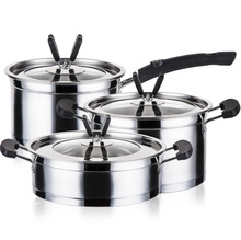 Stainless Steel Pots and Pans 6 Piece Set Lids Kitchen Cookware Cooking