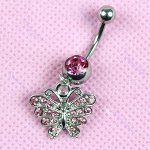Ebay golden hot style navel ring/zircon umbilal nail/hot pink butterfly