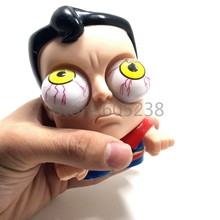 12Pieces Crazy&Funny Clark Kent Cute Doll Superman Bulging Eyes Pop Out Eyes Stress Balls Squeezable Toy