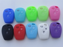 Colorful New Silicone Car Key Case Shell Cover fits For Renault 3 button Clio Trafic Master Kangoo Blank  1pc