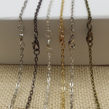Anti Silver/Gold/Gunmetal/Antique Bronze Plated Necklace flat metal chains with Lobster Clasps for DIY Jewelry Making Materials