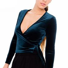 Sexy Women Deep-V Neck Shirt Autumn Winter Dance Velvet Wrap Tops Sexy Adjustable Ties Waist Long Sleeve Top