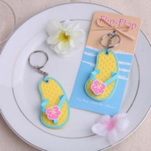 "FREE SHIPPING(20pcs/Lot)+""Flip Flop"" Tropical Flower Key Chain Wedding Party Giveaway Gift Baby Shower Favors(China)"