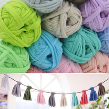 30M Soft Thick Yarn For Knitting Mat/Handbag Fancy Tshirt Yarn Big DIY Cloth White Crochet Tassel Yarn 100g/ball
