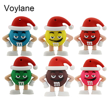 Voylane Promotion price Cute Cartoon M&m's Chocolate M Bean 8/16g/32gb Usb Flash Drive Pendrive 8gb 16gb Memory Stick Pen U Disk