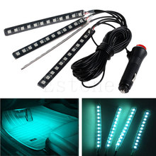 Ice Blue 4x12LED Car Interior Light Atmosphere Decorative Neon Lamp Strips New(China)