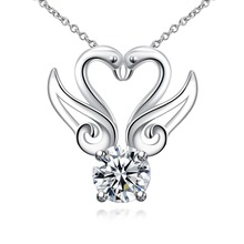 Fine silver plated jewelry swan couples love pendant necklaces wedding gift free drop Shipping supplier star brand design(China)