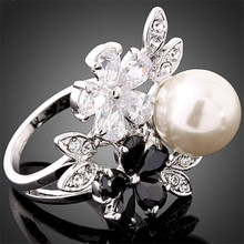 New Fashion White Gold Rings Cubic Zirconia Simulated Pearl Crystal Studded Rhinestone Jewelry 24K Gold Color J00960